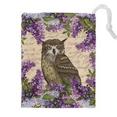Vintage owl and lilac Drawstring Pouches (XXL)