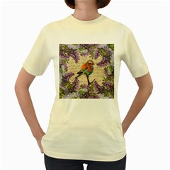 Vintage bird and lilac Women s Yellow T-Shirt