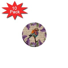 Vintage bird and lilac 1  Mini Buttons (10 pack)