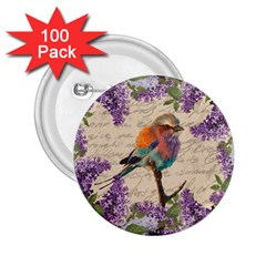 Vintage bird and lilac 2.25  Buttons (100 pack)