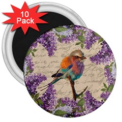 Vintage bird and lilac 3  Magnets (10 pack)