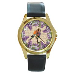 Vintage bird and lilac Round Gold Metal Watch