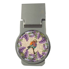 Vintage bird and lilac Money Clips (Round)