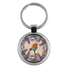 Vintage bird and lilac Key Chains (Round)