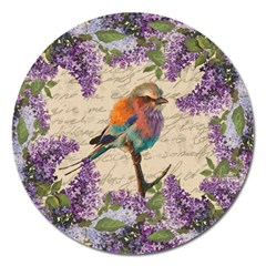 Vintage bird and lilac Magnet 5  (Round)