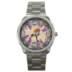 Vintage Bird And Lilac Sport Metal Watch