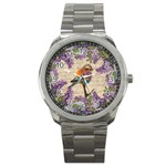 Vintage bird and lilac Sport Metal Watch Front