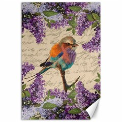 Vintage bird and lilac Canvas 24  x 36