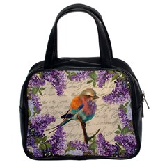 Vintage bird and lilac Classic Handbags (2 Sides)
