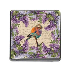 Vintage bird and lilac Memory Card Reader (Square)
