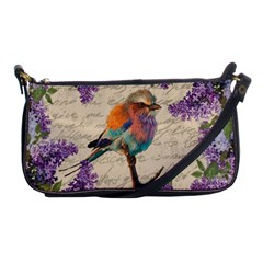 Vintage bird and lilac Shoulder Clutch Bags