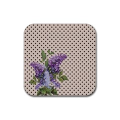 Vintage lilac Rubber Square Coaster (4 pack)
