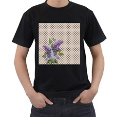 Vintage lilac Men s T-Shirt (Black) (Two Sided)