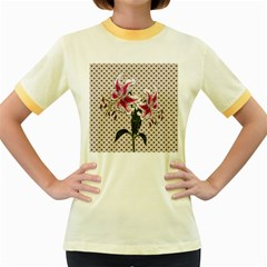 Vintage flowers Women s Fitted Ringer T-Shirts