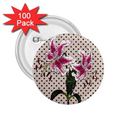Vintage flowers 2.25  Buttons (100 pack)