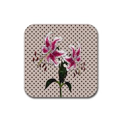 Vintage flowers Rubber Square Coaster (4 pack)