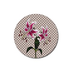 Vintage flowers Rubber Round Coaster (4 pack)