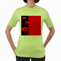Flower Floral Red Back Sakura Women s Green T Shirt