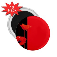 Flower Floral Red Back Sakura 2 25  Magnets (10 Pack)