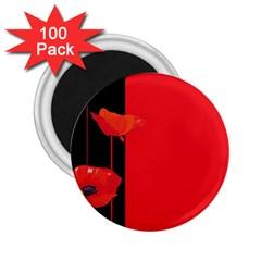 Flower Floral Red Back Sakura 2 25  Magnets (100 Pack)