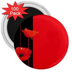 Flower Floral Red Back Sakura 3  Magnets (100 Pack)