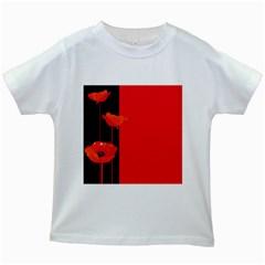 Flower Floral Red Back Sakura Kids White T Shirts