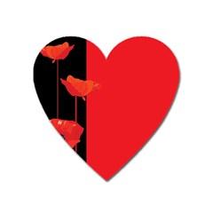 Flower Floral Red Back Sakura Heart Magnet