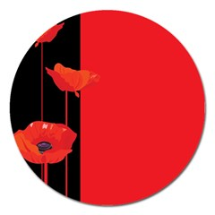 Flower Floral Red Back Sakura Magnet 5  (round)