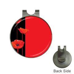 Flower Floral Red Back Sakura Hat Clips With Golf Markers