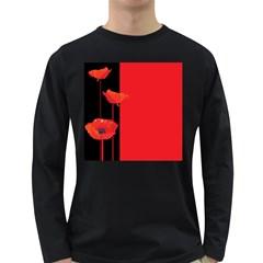 Flower Floral Red Back Sakura Long Sleeve Dark T Shirts