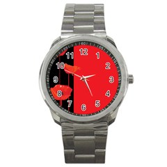 Flower Floral Red Back Sakura Sport Metal Watch