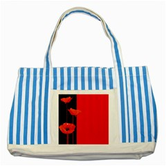 Flower Floral Red Back Sakura Striped Blue Tote Bag