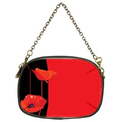 Flower Floral Red Back Sakura Chain Purses (two Sides)