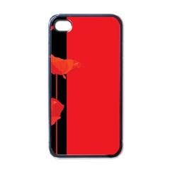 Flower Floral Red Back Sakura Apple Iphone 4 Case (black)