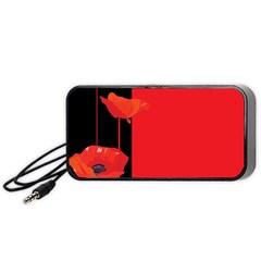 Flower Floral Red Back Sakura Portable Speaker (black)