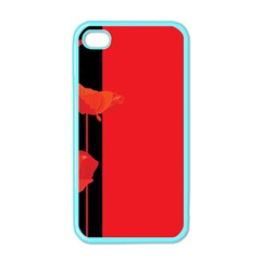Flower Floral Red Back Sakura Apple Iphone 4 Case (color)