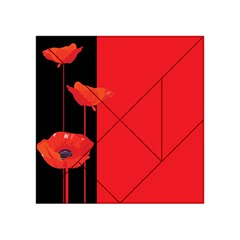 Flower Floral Red Back Sakura Acrylic Tangram Puzzle (4  X 4 )