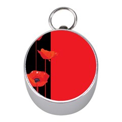 Flower Floral Red Back Sakura Mini Silver Compasses