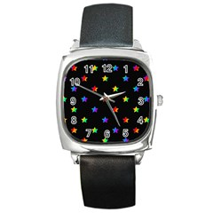 Stars pattern Square Metal Watch