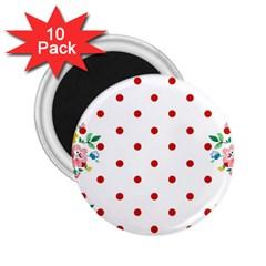 Flower Floral Polka Dot Orange 2 25  Magnets (10 Pack)