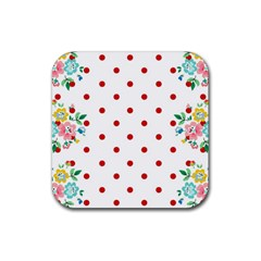 Flower Floral Polka Dot Orange Rubber Coaster (square)