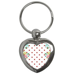 Flower Floral Polka Dot Orange Key Chains (heart)