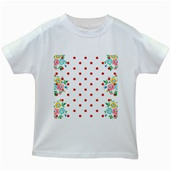 Flower Floral Polka Dot Orange Kids White T Shirts