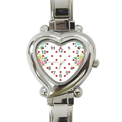 Flower Floral Polka Dot Orange Heart Italian Charm Watch