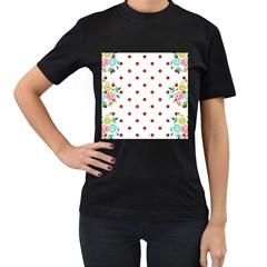 Flower Floral Polka Dot Orange Women s T Shirt (black) (two Sided)