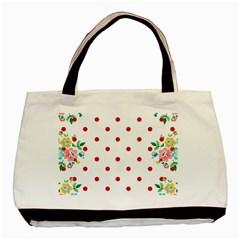 Flower Floral Polka Dot Orange Basic Tote Bag