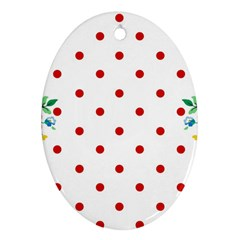 Flower Floral Polka Dot Orange Oval Ornament (two Sides)