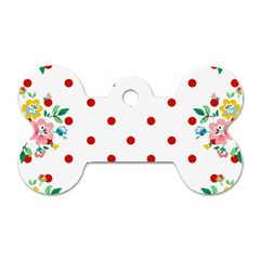 Flower Floral Polka Dot Orange Dog Tag Bone (one Side)