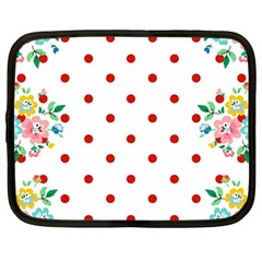 Flower Floral Polka Dot Orange Netbook Case (large)