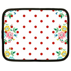 Flower Floral Polka Dot Orange Netbook Case (xxl)